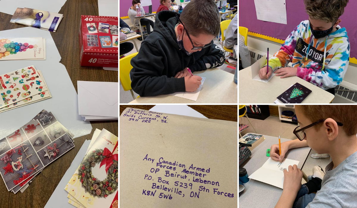 Central School Students Send Christmas Cards to Troops Overseas