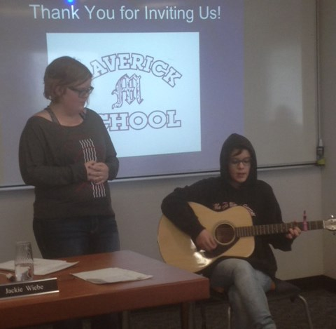 Maverick Students Give Entertaining Presentation to Board