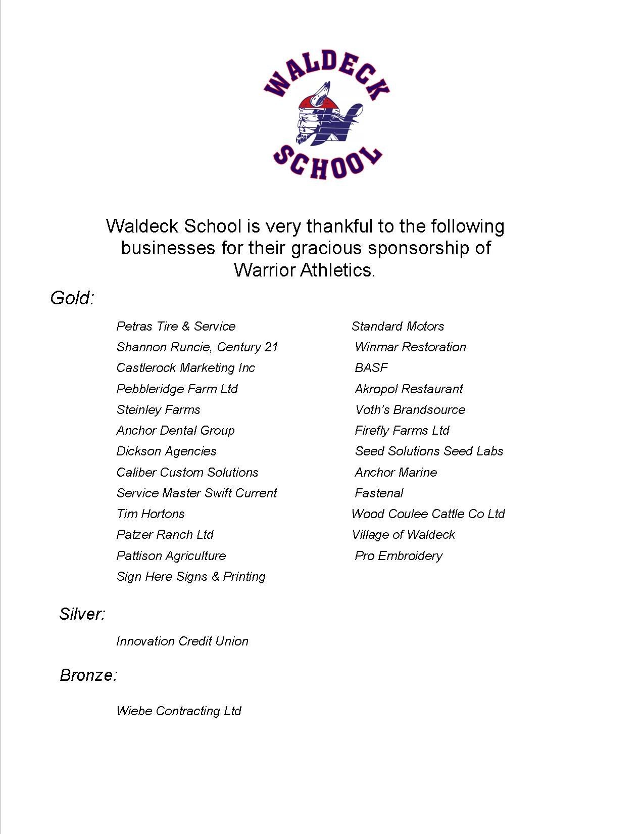 Thank you to our Waldeck Athletic Sponsors!