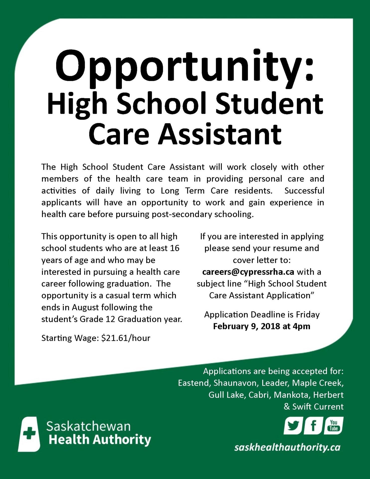 News archive chinook school division high school student care assistant opportunity aiddatafo Choice Image